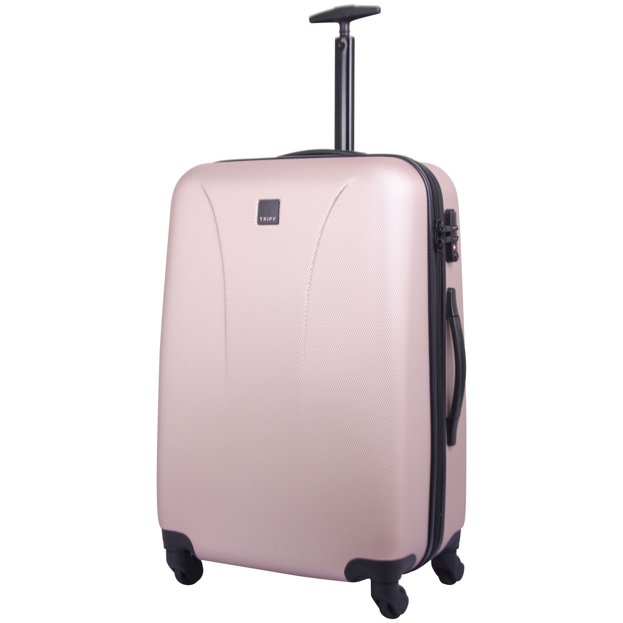 tripp champagne 39 lite 39 medium 4 wheel suitcase hard. Black Bedroom Furniture Sets. Home Design Ideas