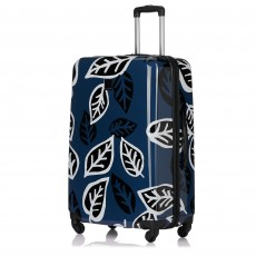 Tripp Denim/Black 'Bold Leaf' Large 4 Wheel Suitcase