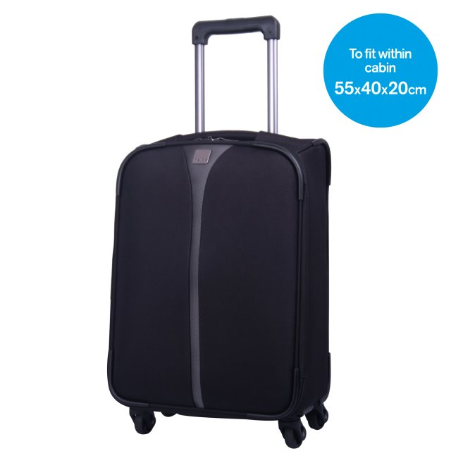 Superlite 4W Cabin 4 wheel Suitcase 55cm BLACK.