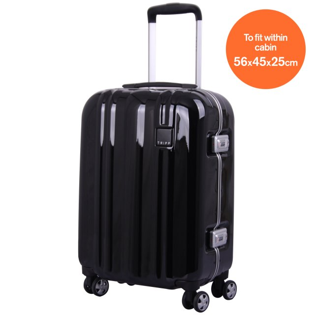 tripp absolute lite ii 4w cabin suitcase jet black hard. Black Bedroom Furniture Sets. Home Design Ideas